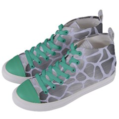 Skin1 White Marble & Silver Brushed Metal (r) Women s Mid Top Canvas Sneakers by trendistuff