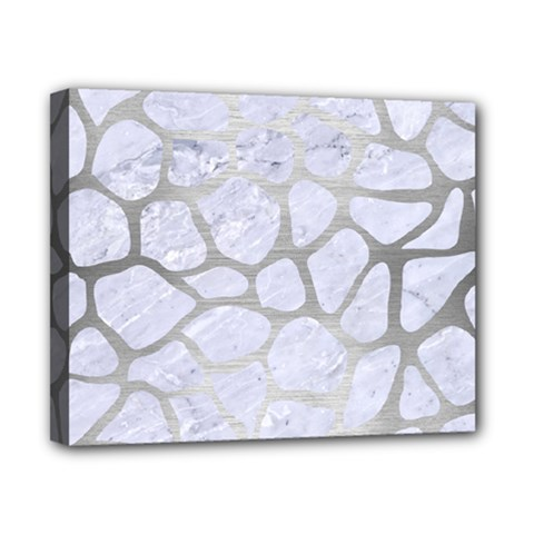 Skin1 White Marble & Silver Brushed Metal Canvas 10  X 8  by trendistuff