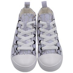 Skin1 White Marble & Silver Brushed Metal Kid s Mid Top Canvas Sneakers