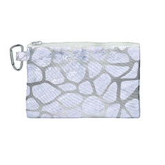 Skin1 White Marble & Silver Brushed Metal Canvas Cosmetic Bag (medium) by trendistuff