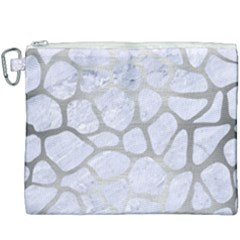 Skin1 White Marble & Silver Brushed Metal Canvas Cosmetic Bag (xxxl) by trendistuff