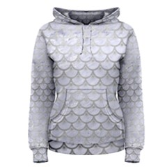 Scales3 White Marble & Silver Brushed Metal (r) Women s Pullover Hoodie