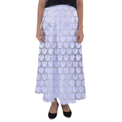 Scales3 White Marble & Silver Brushed Metal (r) Flared Maxi Skirt by trendistuff