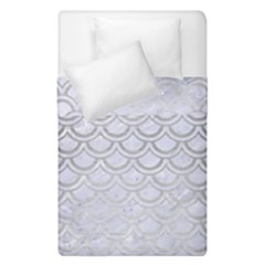 Scales2 White Marble & Silver Brushed Metal (r) Duvet Cover Double Side (single Size) by trendistuff