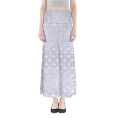 Scales2 White Marble & Silver Brushed Metal (r) Full Length Maxi Skirt by trendistuff