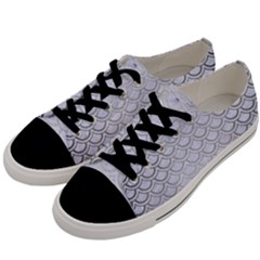 Scales2 White Marble & Silver Brushed Metal (r) Men s Low Top Canvas Sneakers by trendistuff