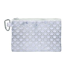 Scales2 White Marble & Silver Brushed Metal (r) Canvas Cosmetic Bag (medium) by trendistuff
