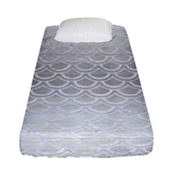 Scales2 White Marble & Silver Brushed Metal Fitted Sheet (single Size) by trendistuff