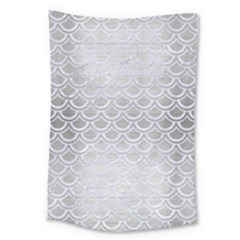 Scales2 White Marble & Silver Brushed Metal Large Tapestry by trendistuff
