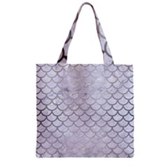 Scales1 White Marble & Silver Brushed Metal (r) Zipper Grocery Tote Bag by trendistuff