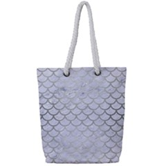 Scales1 White Marble & Silver Brushed Metal (r) Full Print Rope Handle Tote (small) by trendistuff