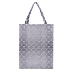 Scales1 White Marble & Silver Brushed Metal Classic Tote Bag by trendistuff