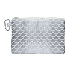 Scales1 White Marble & Silver Brushed Metal Canvas Cosmetic Bag (large) by trendistuff