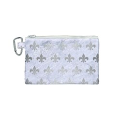 Royal1 White Marble & Silver Brushed Metal Canvas Cosmetic Bag (small) by trendistuff