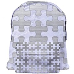 Puzzle1 White Marble & Silver Brushed Metal Giant Full Print Backpack