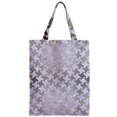 Houndstooth2 White Marble & Silver Brushed Metal Zipper Classic Tote Bag