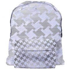 Houndstooth2 White Marble & Silver Brushed Metal Giant Full Print Backpack