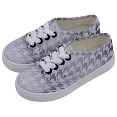 Houndstooth1 White Marble & Silver Brushed Metal Kids  Classic Low Top Sneakers by trendistuff