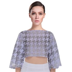 Houndstooth1 White Marble & Silver Brushed Metal Tie Back Butterfly Sleeve Chiffon Top