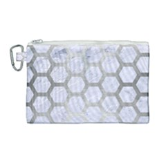 Hexagon2 White Marble & Silver Brushed Metal (r) Canvas Cosmetic Bag (large) by trendistuff