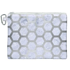 Hexagon2 White Marble & Silver Brushed Metal (r) Canvas Cosmetic Bag (xxl) by trendistuff