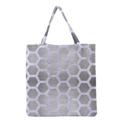 Hexagon2 White Marble & Silver Brushed Metal Grocery Tote Bag by trendistuff