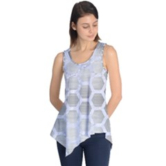 Hexagon2 White Marble & Silver Brushed Metal Sleeveless Tunic
