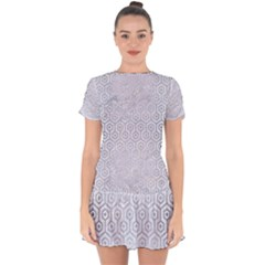 Hexagon1 White Marble & Silver Brushed Metal (r) Drop Hem Mini Chiffon Dress