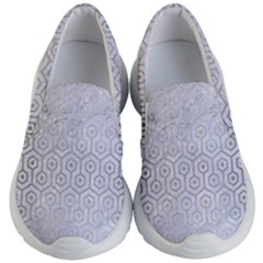 Hexagon1 White Marble & Silver Brushed Metal (r) Kid s Lightweight Slip Ons