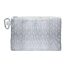 Hexagon1 White Marble & Silver Brushed Metal Canvas Cosmetic Bag (large) by trendistuff