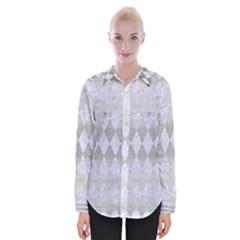 Diamond1 White Marble & Silver Brushed Metal Womens Long Sleeve Shirt