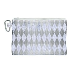 Diamond1 White Marble & Silver Brushed Metal Canvas Cosmetic Bag (large) by trendistuff