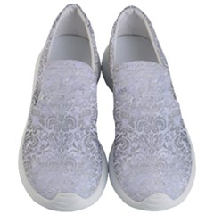 Damask2 White Marble & Silver Brushed Metal (r) Women s Lightweight Slip Ons