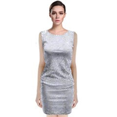 Damask2 White Marble & Silver Brushed Metal Classic Sleeveless Midi Dress