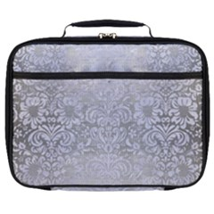 Damask2 White Marble & Silver Brushed Metal Full Print Lunch Bag by trendistuff
