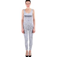Damask1 White Marble & Silver Brushed Metal (r) One Piece Catsuit by trendistuff