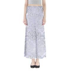 Damask1 White Marble & Silver Brushed Metal (r) Full Length Maxi Skirt