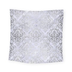 Damask1 White Marble & Silver Brushed Metal (r) Square Tapestry (small) by trendistuff