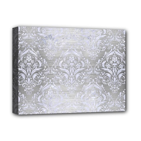 Damask1 White Marble & Silver Brushed Metal Deluxe Canvas 16  X 12   by trendistuff