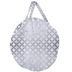 Circles3 White Marble & Silver Brushed Metal (r) Giant Round Zipper Tote