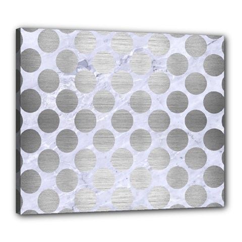 Circles2 White Marble & Silver Brushed Metal (r) Canvas 24  X 20  by trendistuff
