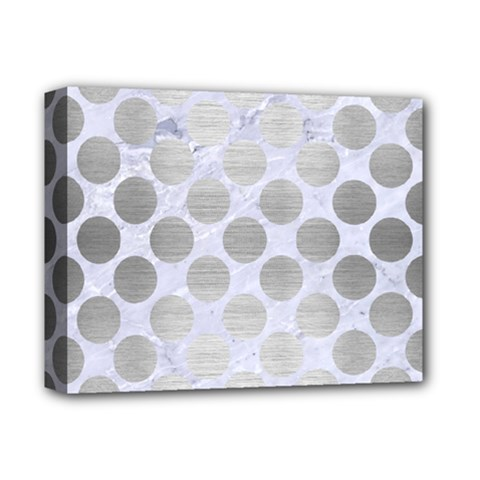 Circles2 White Marble & Silver Brushed Metal (r) Deluxe Canvas 14  X 11  by trendistuff