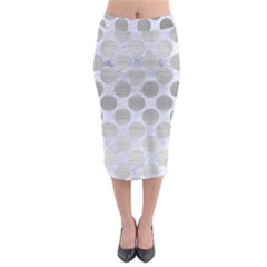 Circles2 White Marble & Silver Brushed Metal (r) Midi Pencil Skirt by trendistuff