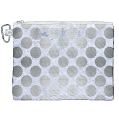 Circles2 White Marble & Silver Brushed Metal (r) Canvas Cosmetic Bag (xxl) by trendistuff