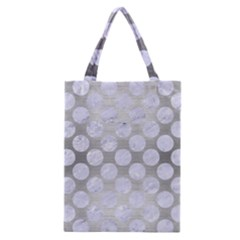 Circles2 White Marble & Silver Brushed Metal Classic Tote Bag by trendistuff