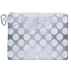 Circles2 White Marble & Silver Brushed Metal Canvas Cosmetic Bag (xxl) by trendistuff