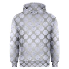 Circles2 White Marble & Silver Brushed Metal Men s Overhead Hoodie