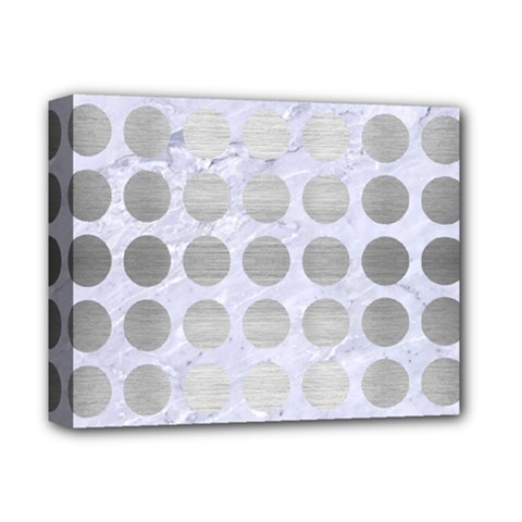 Circles1 White Marble & Silver Brushed Metal (r) Deluxe Canvas 14  X 11  by trendistuff