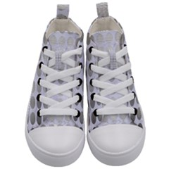 Circles1 White Marble & Silver Brushed Metal (r) Kid s Mid Top Canvas Sneakers