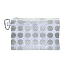 Circles1 White Marble & Silver Brushed Metal (r) Canvas Cosmetic Bag (medium) by trendistuff